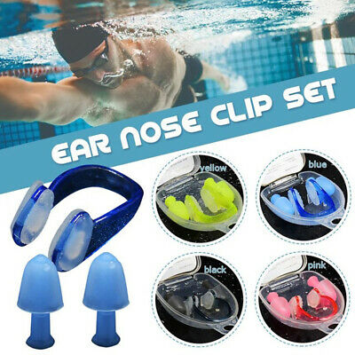 Soft Silicone Swimming Nose Clips 2 Ear Plugs Earplugs Gear With a Case Set