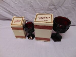 2-Avon-1876-Cape-Cod-Collection-Wine-amp-Water-Goblets-new-in-box-red-ruby-color