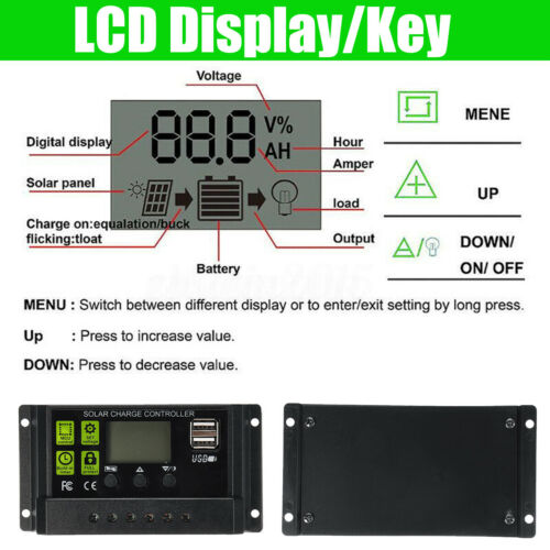 50W 18V Solar Panel USB Battery Power Charger+10//20//30A PWM Solar Controller