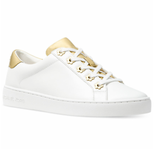 e07bd9c0fbd9 New Michael Kors Irving Sneakers Leather Lace up Tennis Shoes Optic ...