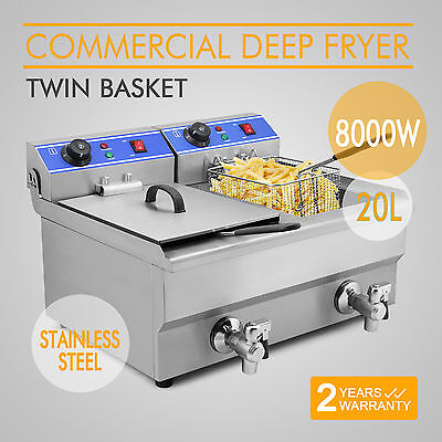 New 8000W Electric Countertop Deep Fryer Dual Tank 20 L Commercial Restaurant