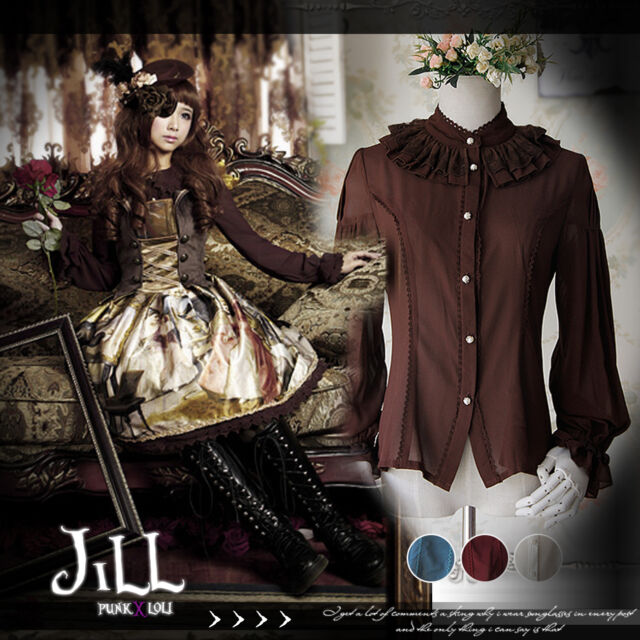 Lolita goth Princess diary Swan lake lantern sleeve chiffon evening shirt JI0015