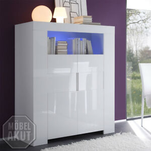 highboard eos sideboard in wei echt hochglanz lackiert 119 cm breit ebay. Black Bedroom Furniture Sets. Home Design Ideas