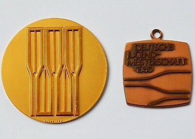 2 Medaillen Rudern Rudermedaillen 1x Bronze 1x Vergoldet, Deutscher Ruderverband