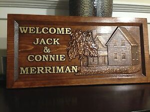 """11/"""" x 23/"""" Personalized Wood Carved Bear and Cabin Sign Welcome Sign"""