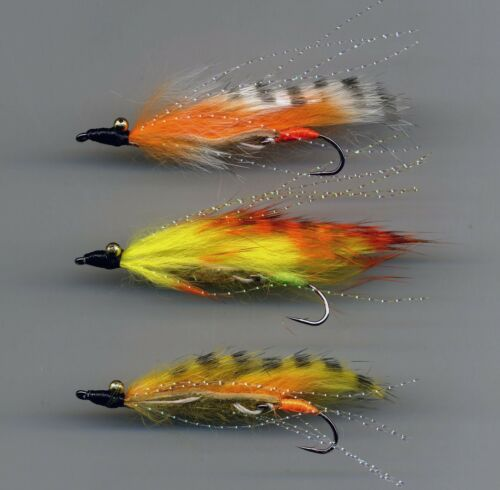 Mini Snake Flies x 3 size 8 trailing hook.UK Tied. Trout Flies Tiger Marauders