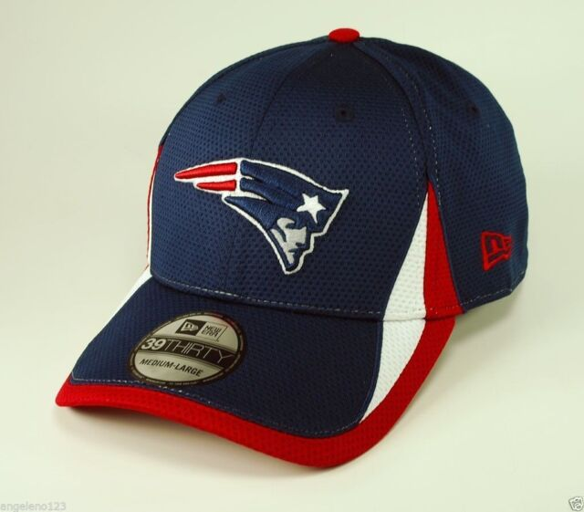fd593a75de1 NEW ERA Men s New England Patriots Hat 39thirty NFL Training 3930 Blue Red  Cap