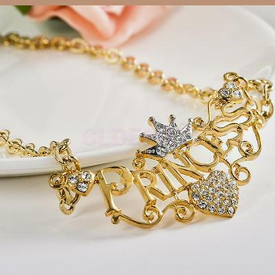 Fashion Letters Princess With Crown Clavicle Chain Pendant Necklace Jewelry