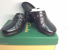 CLARKS Addy Trust Black Leather Clogs Slip On Size 6M - NIB #112