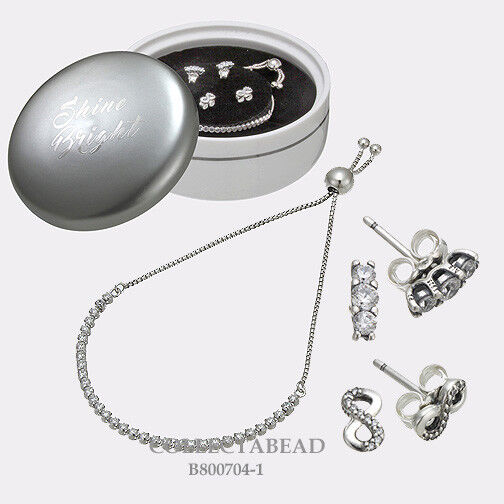 0e836f17b Authentic PANDORA Sparkling Elegance CZ Earrings and Bracelet Gift Set  B800704-2 for sale online | eBay