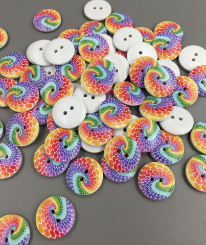 Free DIY 50-100pcs Multicolor 2 Holes Wood Sewing Buttons Scrapbooking 20mm