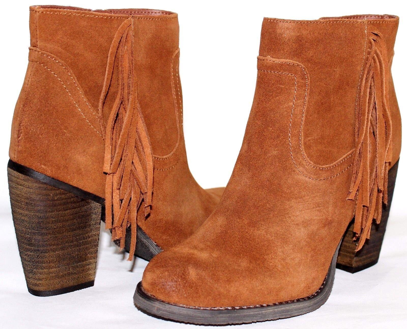 SBICCA Marimba Fringe Whiskey Premium Suede 3.5  Heel Zip Boot 8.5 M NEW L@@K