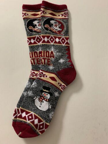 S6 Florida St Seminoles Xmas Unisex Adult Socks Snowman 1pr-Lrg New Free S//H