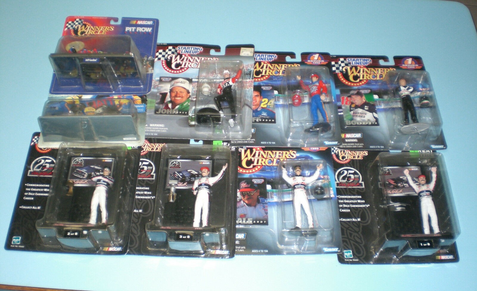 9 NASCAR RACING DIFFERENT STARTING LINE UP & HOT WHEELS - EARNHARDT - GORDON