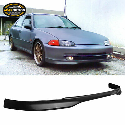1993 Front Bumper Lip Compatible With 1992-1995 Honda Civic 4 Door Sedan Model Only T R Style Unpainted Black Spoiler Splitter Valance Fascia Cover Guard Protection Conversion by IKONMOTORSPORTS