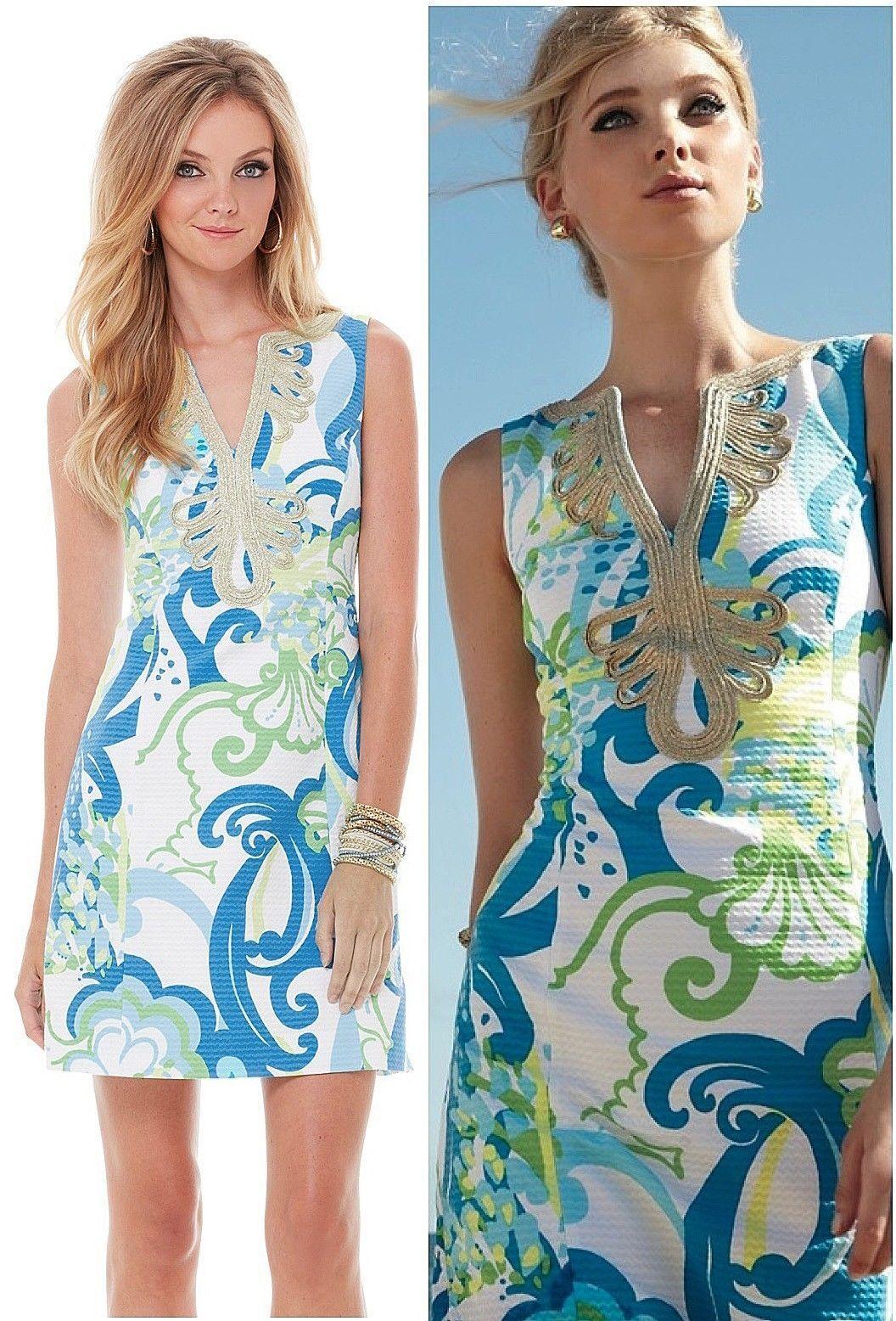 NWT Lilly Pulitzer Janice Resort vit Crystal Kostnad Skift guld Soutache Dress