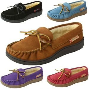Alpine-Swiss-Sabine-Womens-Suede-Shearling-Moccasin-Slippers-House-Shoes-Slip-On