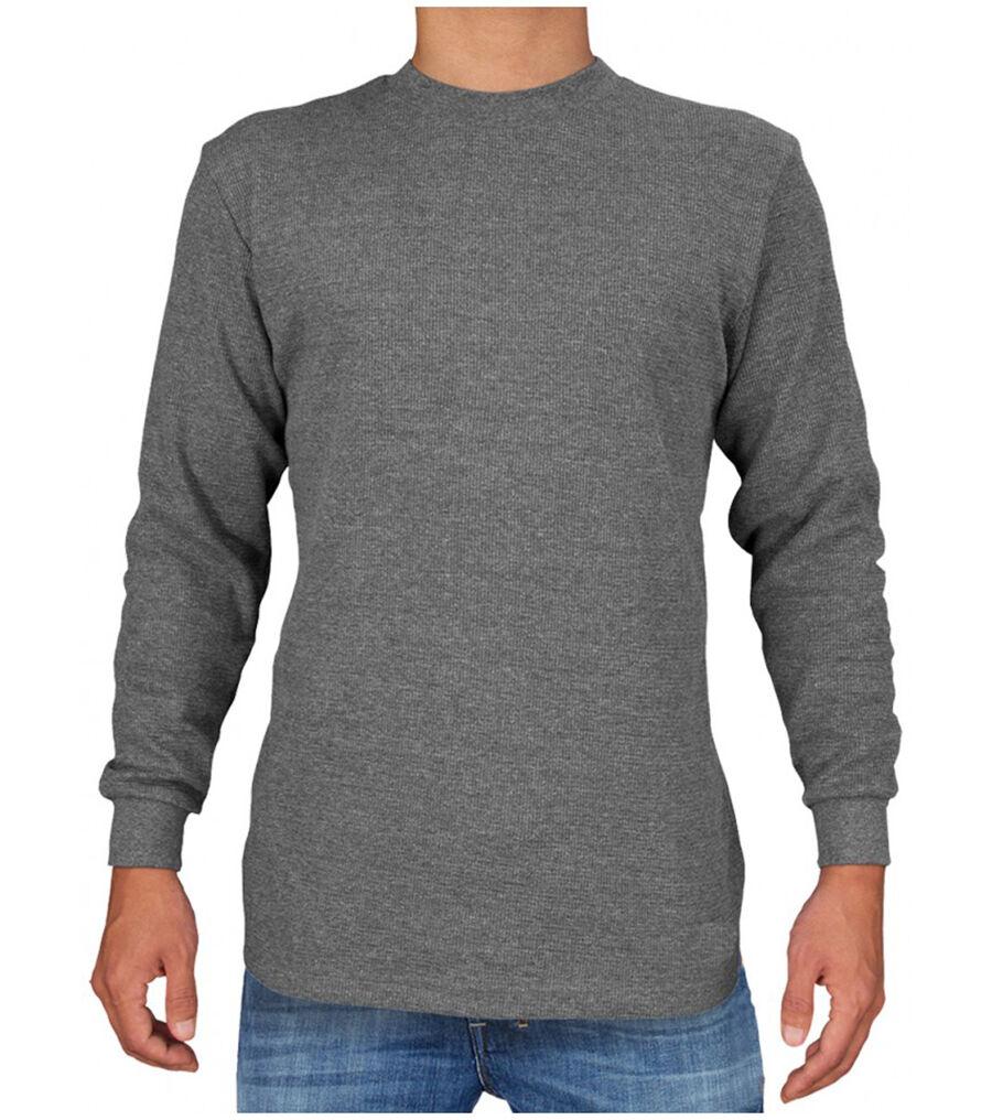 Mens 100 Cotton Thermal Top Long Sleeve Waffle Shirts Crew