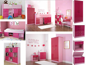 Details about Ottawa Caspian Pink Gloss Girls Bedroom Furniture - Wardrobe  Drawers Beds Sets