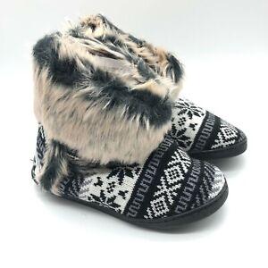 Womens Bootie Slippers Knit Fair Isle Faux Fur Trim Black White Size 7/8