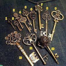 Vintage Skeleton OLD LOCK Keys Charm Set in Antique Bronze Pack of 12 Different