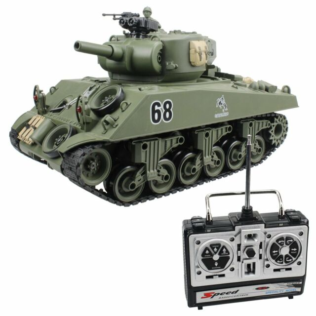15 Channel 1 20 RC Tank USA Sherman M4a3 Main Battle Model With Air-soft  Green