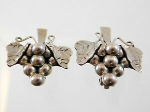 Vintage-Taxco-Mexico-Sterling-Silver-Grape-Cluster-Clip-On-Earrings-925