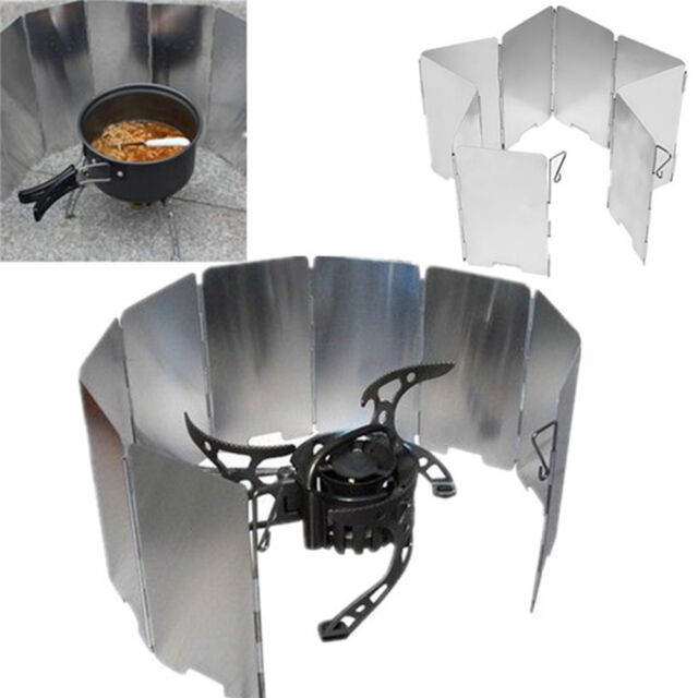 10 Plates Outdoor Foldable Cooker BBQ Gas Stove Windshield Wind Screen Windproof