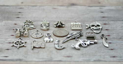 15pc or 5pc Pirate Charm Set Lot Collection//Treasure Map,Skull,Sword,Parrot,Ship