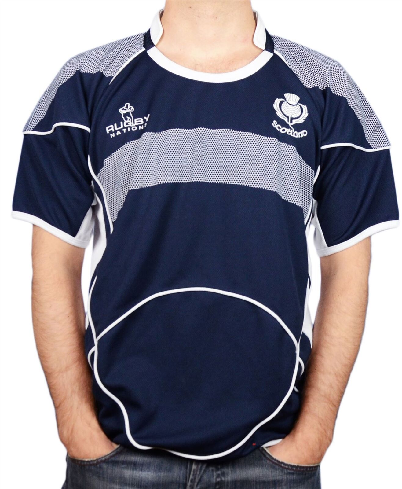 Camicia da uomo rugby Scozia Scollo Tondo Mezza Manica Taglia 2X-LARGE