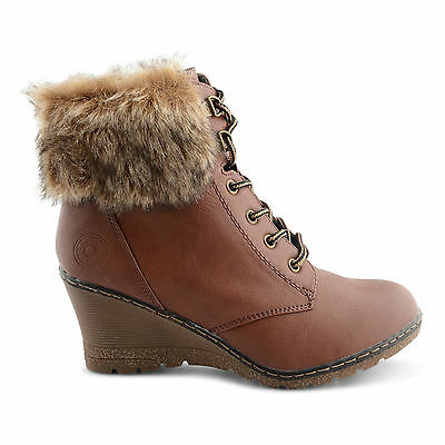 NEW WOMENS LADIES GIRLS WEDGE HEEL FUR LINED ANKLE BOOTS WINTER SHOES