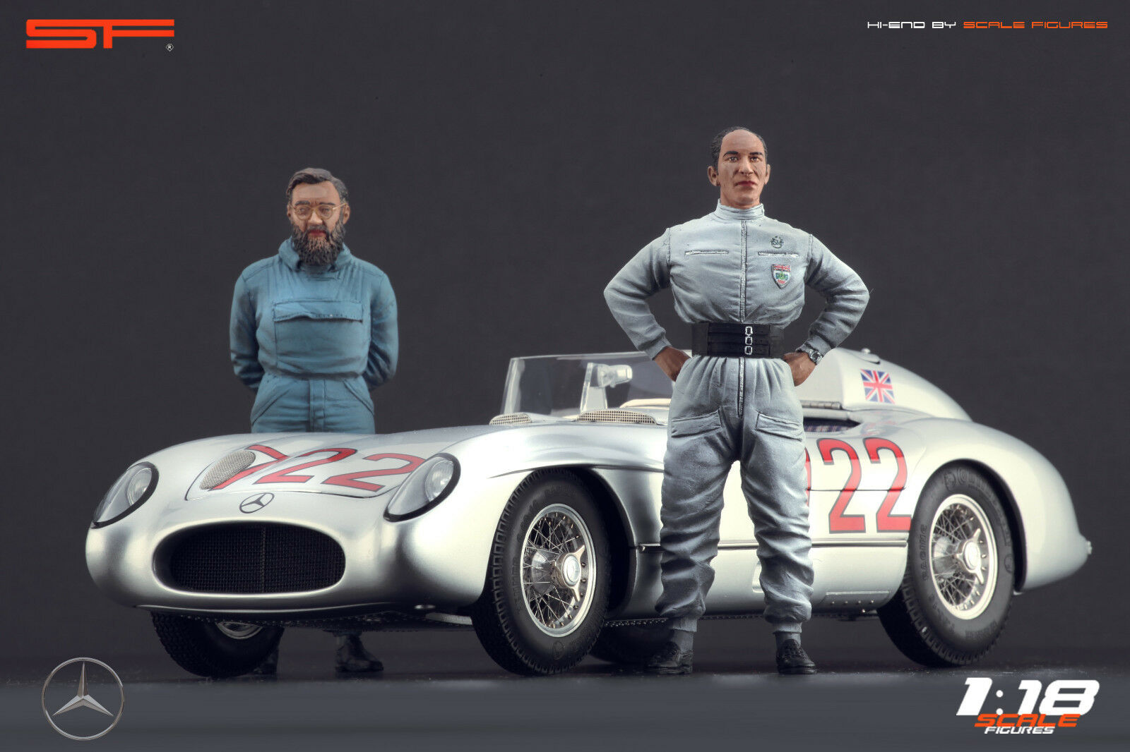 figuras de Stirling Moss & Denis Jenkinson Muy Raro for1:18 CMC Mercedes