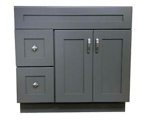 New-Grey-Shaker-Single-sink-Bathroom-Vanity-Base-Cabinet-36-034-Wide-x-21-034-Deep