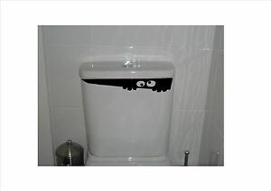 Toilet-Monster-Removable-Vinyl-Decal-Sticker-Art-Choice-of-Colours-340mm-x-63mm