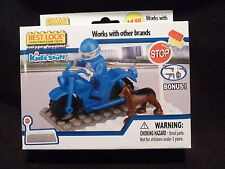 NEW Best Lock Construction Toys Kids Stuff Blue Motorcycle Driver with Dog