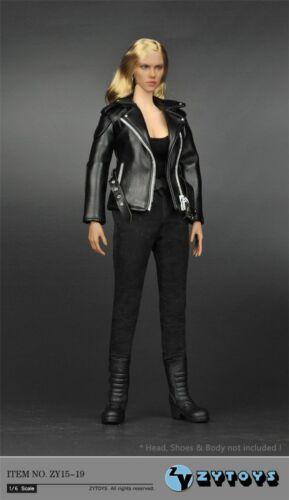 1//6 Female Black Leather Jacket Clothes Fit 12/'/' TBL HT Action Soldier Figure