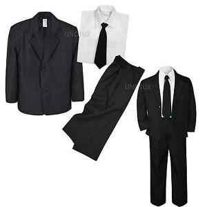 088f5df65 4pc Set Infant Boy Toddler Kid Teen Wedding Black Blazer Formal ...