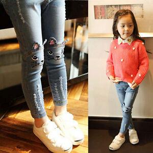 Baby Girls Cat Denim Pants Kids Clothes Scratch Long ...