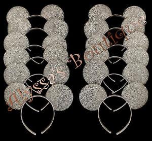 Minnie Mickey Mouse Ears Headbands 24 Pc Shiny Silver Birthday Party