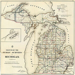 1866 Michigan Public Survey Map Wall Art Poster Print Decor Vintage