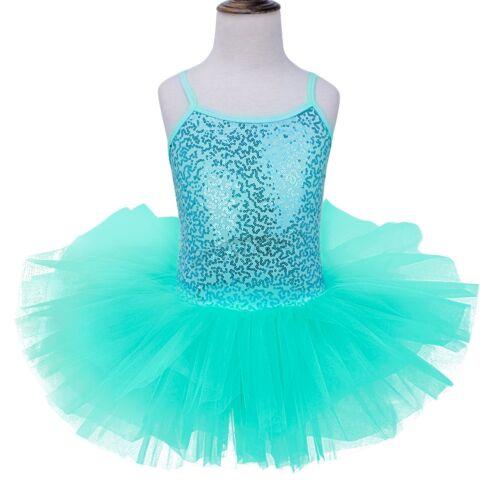 UK Girls Ballet Dance Dress Tulle Tutu Skirt Ballerina Dancewear Sequins Costume