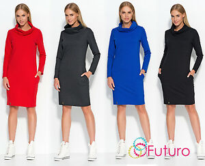 Ladies Comfy Everyday Casual Cowl Neck Long Sleeve Knee Length Tunic Dress FA531