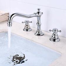 "3 Holes 2 Cross Handle 8/""-16/"" Widespread Bathroom Sink Faucet Chrome Basin Mixer"