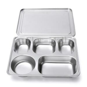 eco lunchbox stainless steel divided lunch food serving bento box tray cover ebay. Black Bedroom Furniture Sets. Home Design Ideas