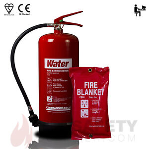 NEW 9 LTR WATER FIRE EXTINGUISHER + 1M x 1M Fire Blanket