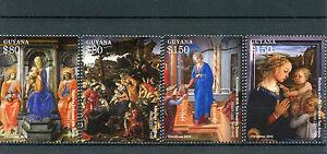 Guyana-2015-neuf-sans-charniere-Noel-Filippo-Lippi-peintures-4V-set-Madonna-enfant-Anges