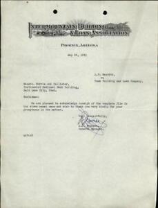 1931 Phoenix Arizona (AZ) Letter Intermountain Building & Loan Association