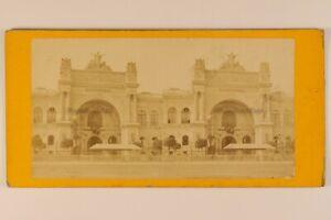 Parigi Palais Da L Industria Francia Foto Stereo c1868 Albumina Vintage