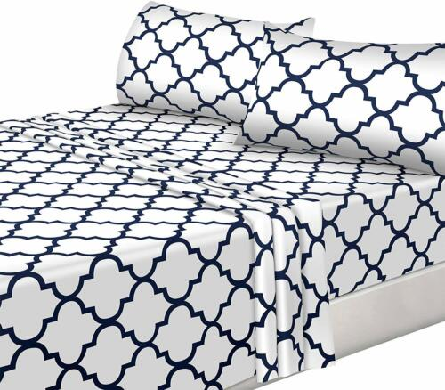 4-Piece Bed Sheet Set Pillowcase Flat Fitted Bedding Soft Polyester Microfiber