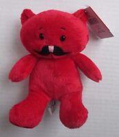 E Red Bear 7.5 Mustache Friends Plush Ganz Hug Me